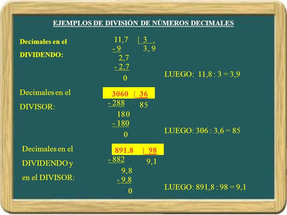 EJEMPLOS DE DIVISIÓN DE NÚMEROS DECIMALES