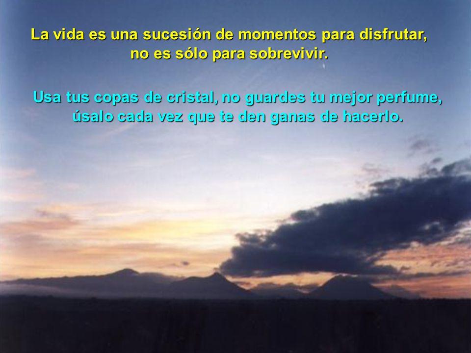 La vida es una sucesión de momentos para disfrutar, no es sólo para sobrevivir.