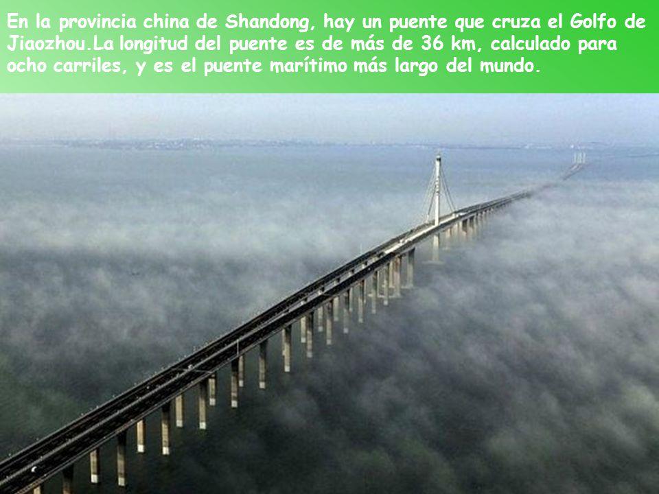 En la provincia china de Shandong, hay un puente que cruza el Golfo de Jiaozhou.La longitud del puente es de más de 36 km, calculado para ocho carriles, y es el puente marítimo más largo del mundo.