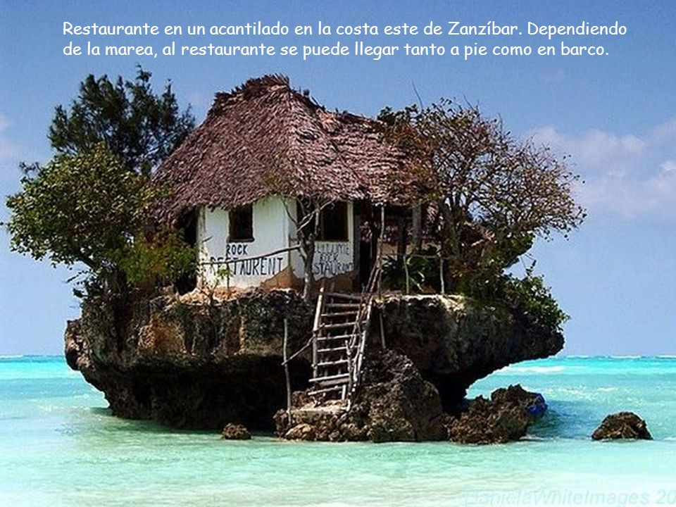 Restaurante en un acantilado en la costa este de Zanzíbar