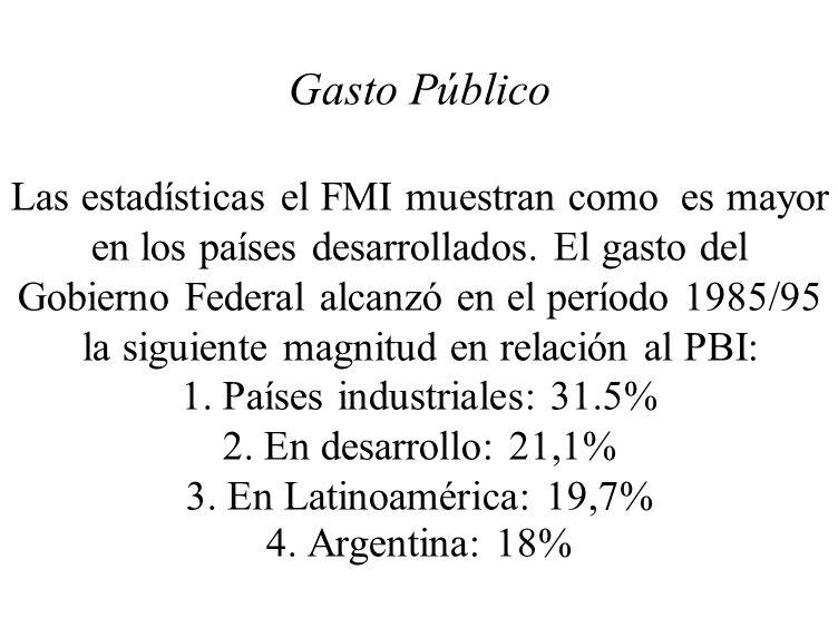 Gasto Público Las estadísticas el FMI muestran como es mayor en los países desarrollados.