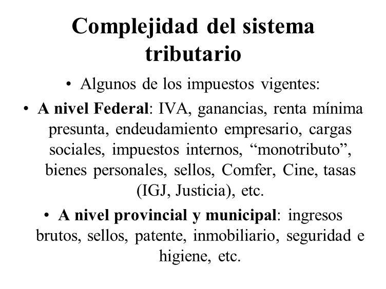 Complejidad del sistema tributario
