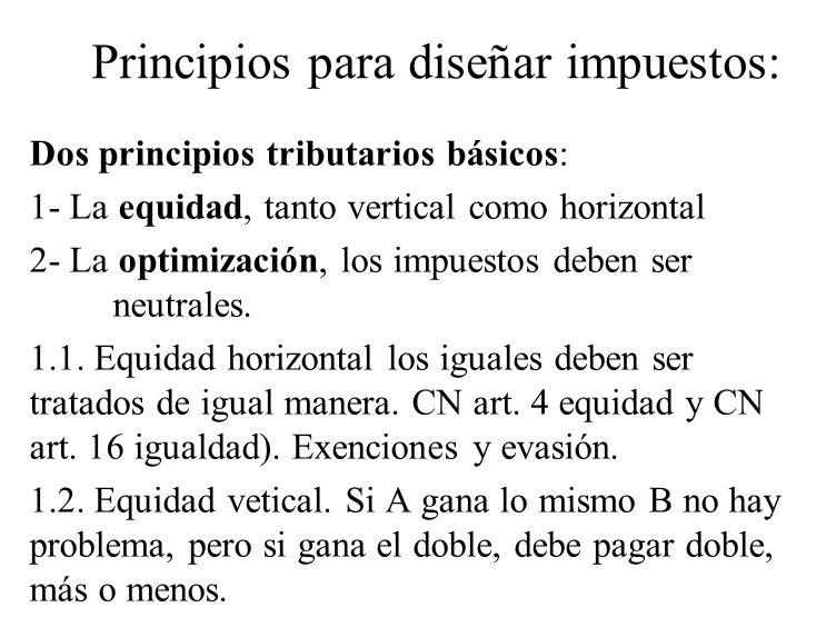 Principios para diseñar impuestos: