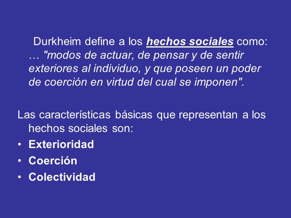 Durkheim define a los hechos sociales como: … modos de actuar, de pensar y de sentir exteriores al individuo, y que poseen un poder de coerción en virtud del cual se imponen .