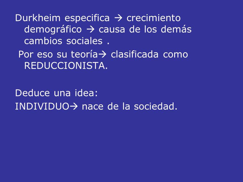Durkheim especifica  crecimiento demográfico  causa de los demás cambios sociales .