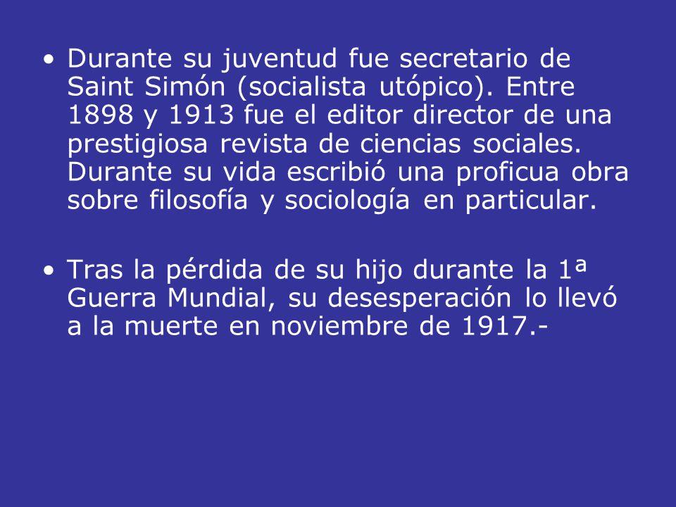 Durante su juventud fue secretario de Saint Simón (socialista utópico)