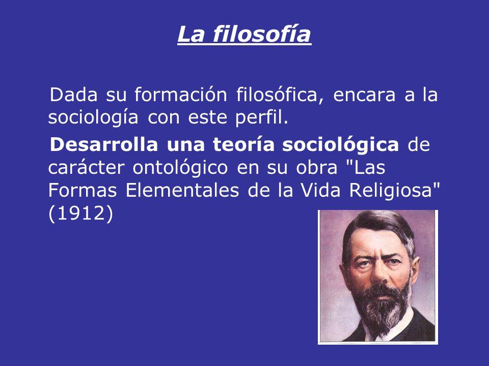 La filosofía Dada su formación filosófica, encara a la sociología con este perfil.