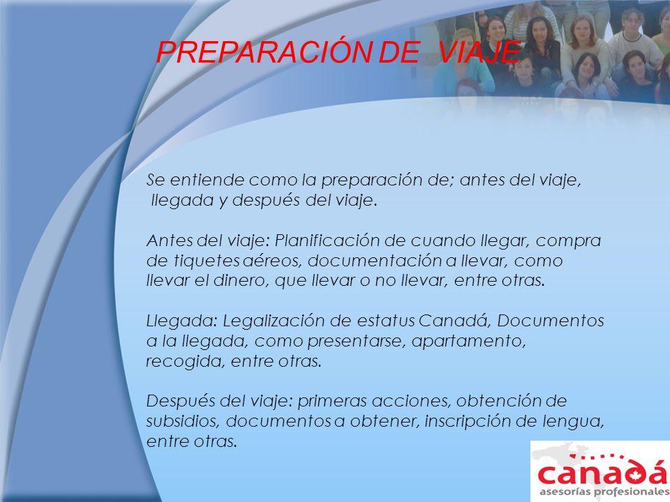 PREPARACIÓN DE VIAJE Se entiende como la preparación de; antes del viaje, llegada y después del viaje.