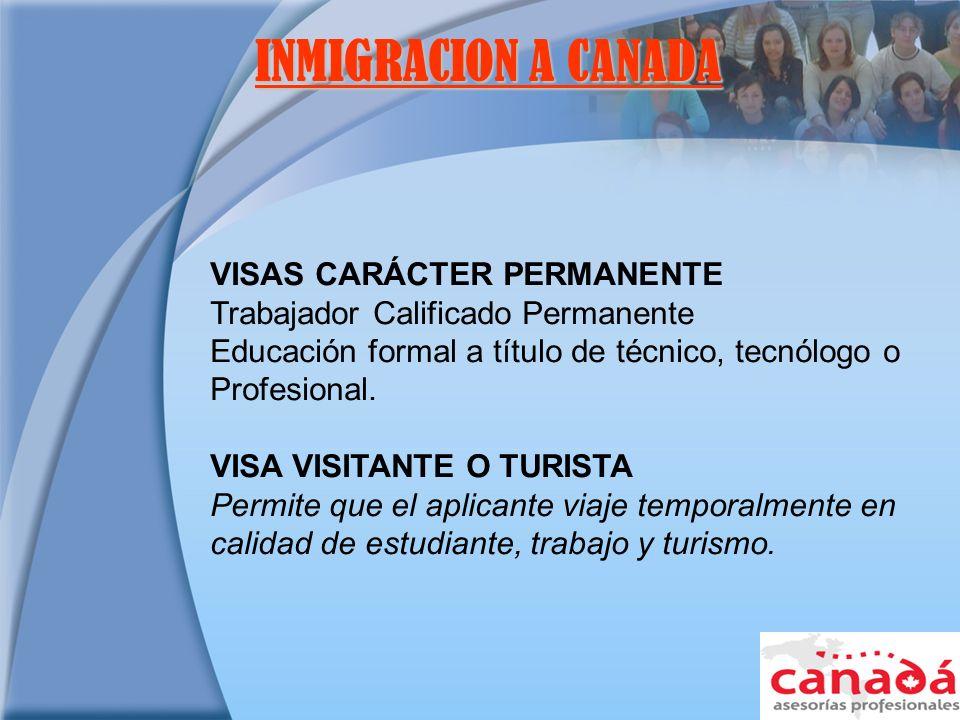 INMIGRACION A CANADA VISAS CARÁCTER PERMANENTE