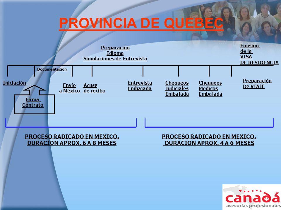 PROVINCIA DE QUEBEC PROCESO RADICADO EN MEXICO.