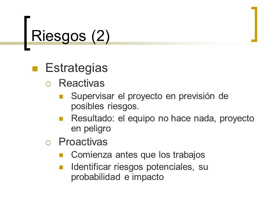 Riesgos (2) Estrategias Reactivas Proactivas