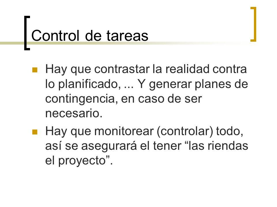 Control de tareas Hay que contrastar la realidad contra lo planificado, ... Y generar planes de contingencia, en caso de ser necesario.