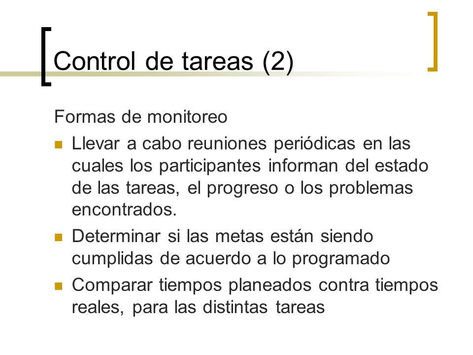 Control de tareas (2) Formas de monitoreo