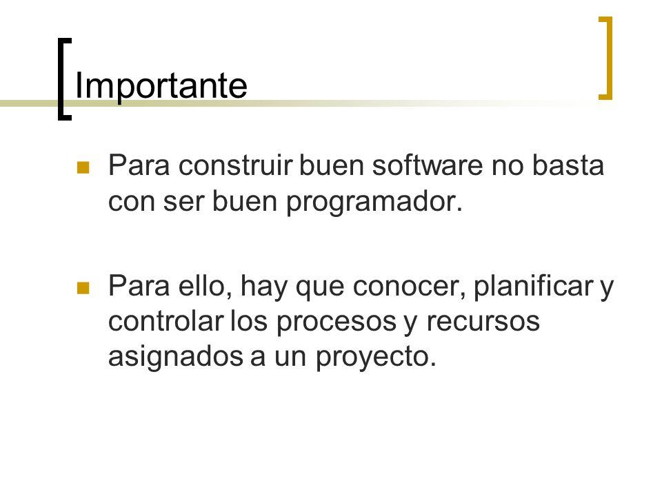 Importante Para construir buen software no basta con ser buen programador.