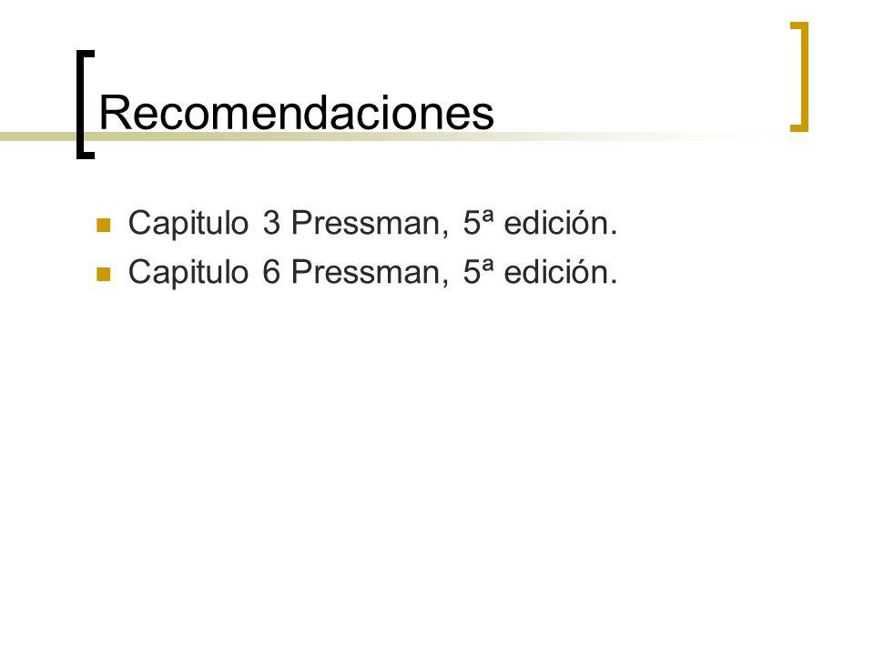 Recomendaciones Capitulo 3 Pressman, 5ª edición.
