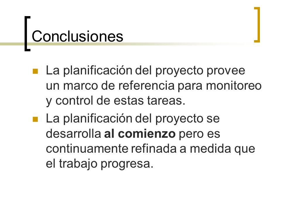 Conclusiones La planificación del proyecto provee un marco de referencia para monitoreo y control de estas tareas.