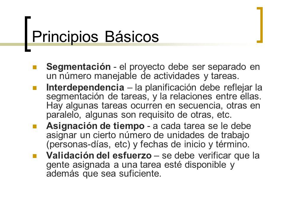 Principios Básicos Segmentación - el proyecto debe ser separado en un número manejable de actividades y tareas.