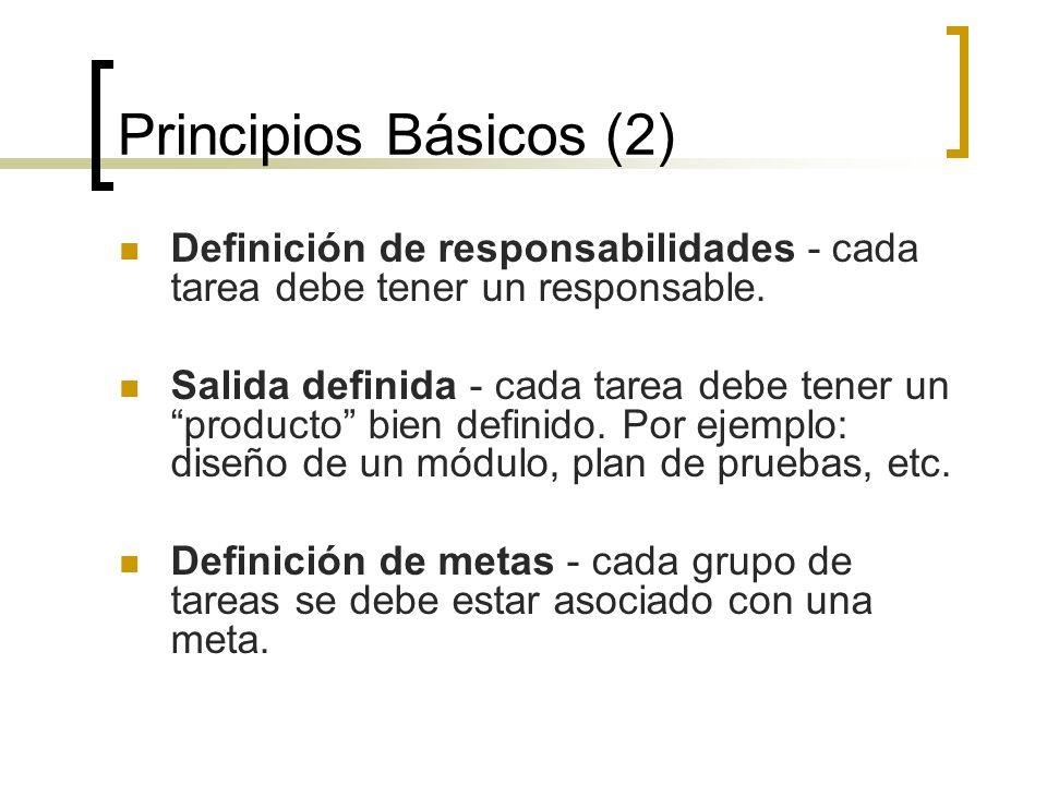 Principios Básicos (2) Definición de responsabilidades - cada tarea debe tener un responsable.