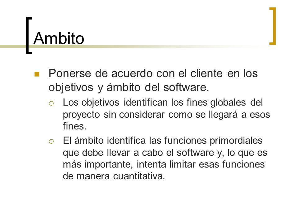 Ambito Ponerse de acuerdo con el cliente en los objetivos y ámbito del software.