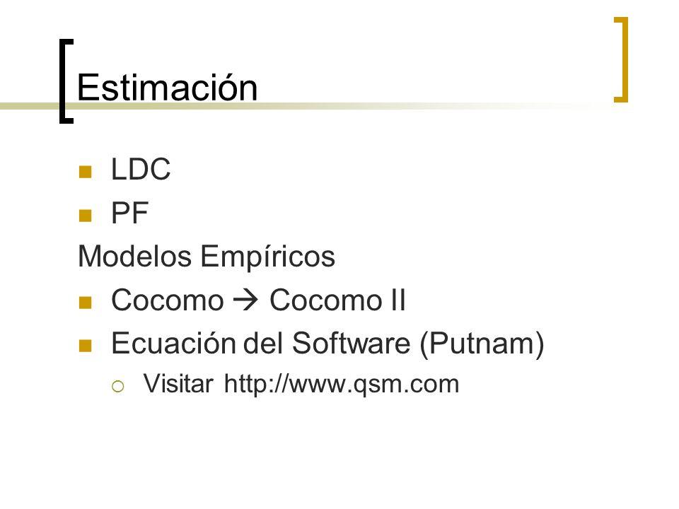 Estimación LDC PF Modelos Empíricos Cocomo  Cocomo II