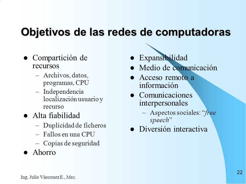 Objetivos de las redes de computadoras