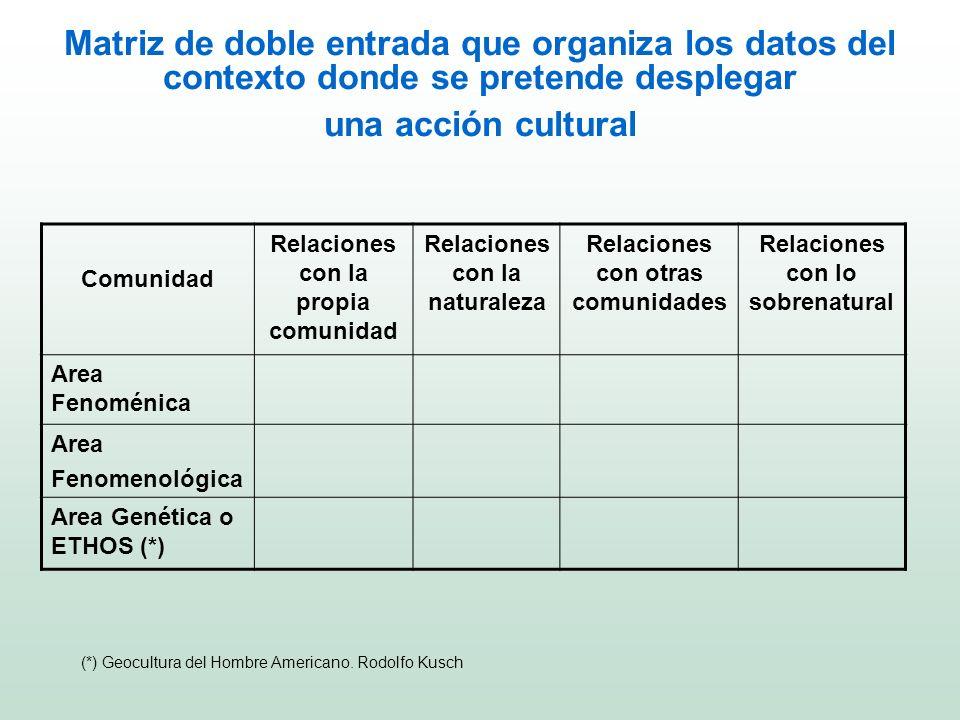 Matriz de doble entrada que organiza los datos del contexto donde se pretende desplegar una acción cultural