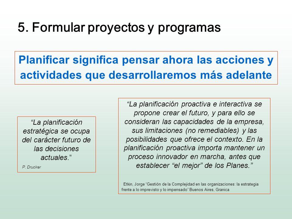 5. Formular proyectos y programas