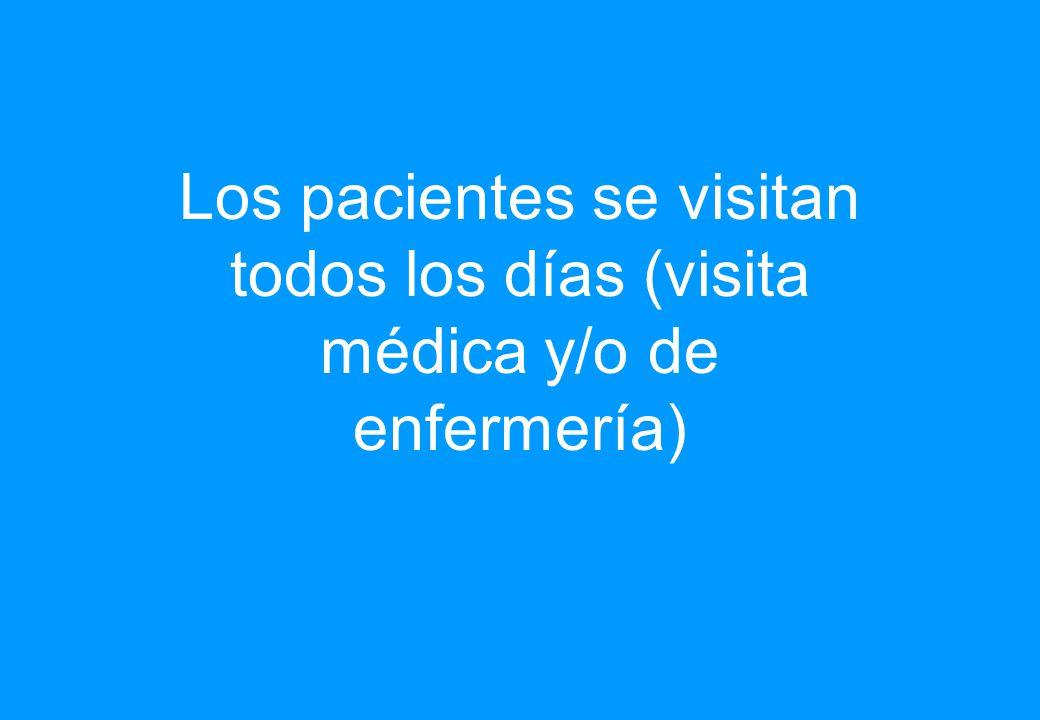 Los pacientes se visitan todos los días (visita médica y/o de enfermería)