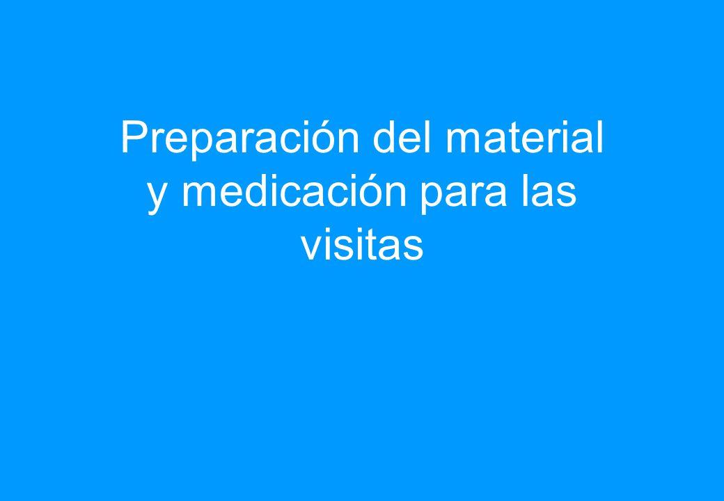 Preparación del material y medicación para las visitas