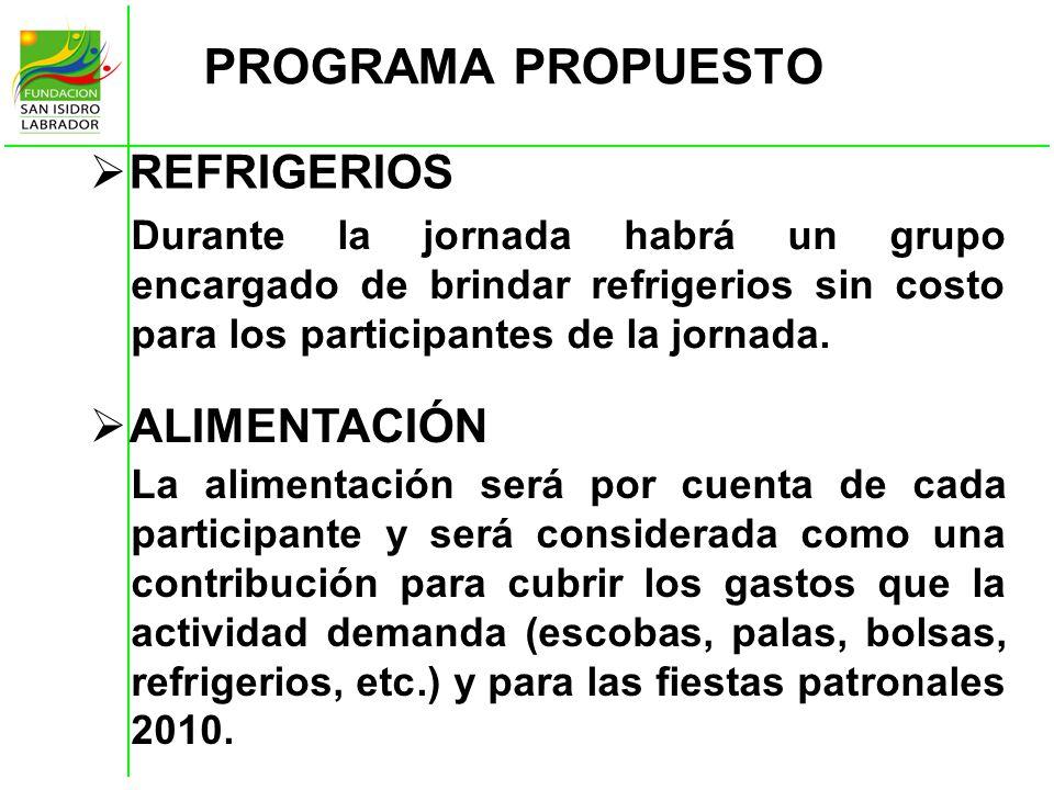 PROGRAMA PROPUESTO REFRIGERIOS ALIMENTACIÓN