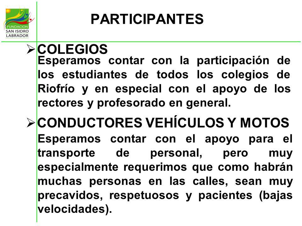 PARTICIPANTES COLEGIOS CONDUCTORES VEHÍCULOS Y MOTOS