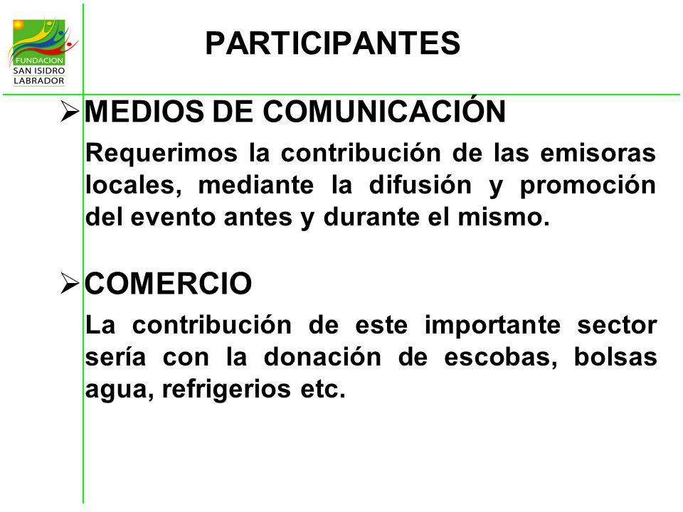 PARTICIPANTES MEDIOS DE COMUNICACIÓN COMERCIO