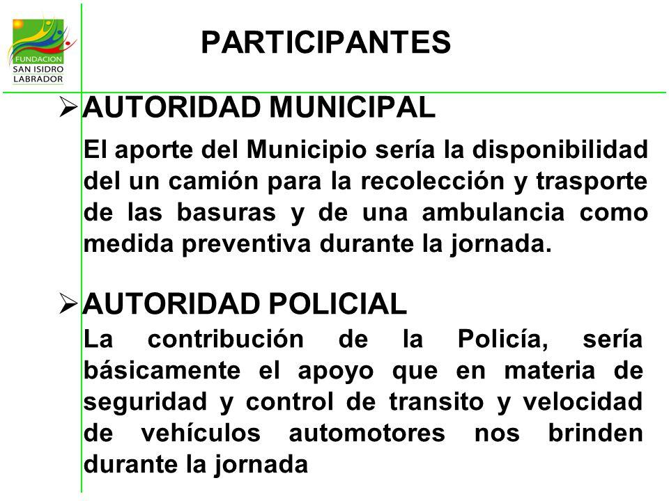 PARTICIPANTES AUTORIDAD MUNICIPAL AUTORIDAD POLICIAL