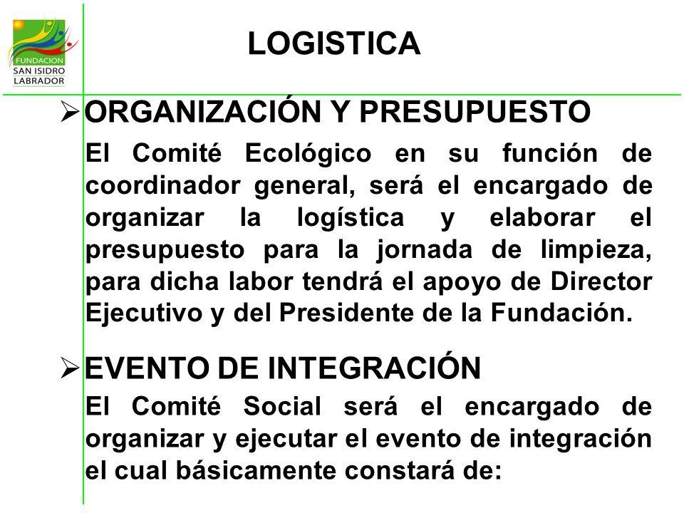 LOGISTICA ORGANIZACIÓN Y PRESUPUESTO EVENTO DE INTEGRACIÓN