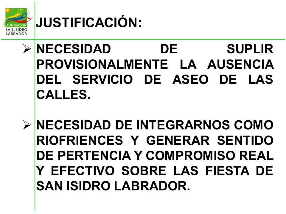 JUSTIFICACIÓN: NECESIDAD DE SUPLIR PROVISIONALMENTE LA AUSENCIA DEL SERVICIO DE ASEO DE LAS CALLES.