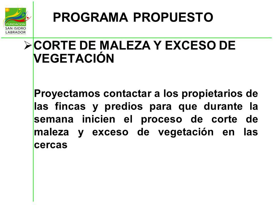 PROGRAMA PROPUESTO CORTE DE MALEZA Y EXCESO DE VEGETACIÓN