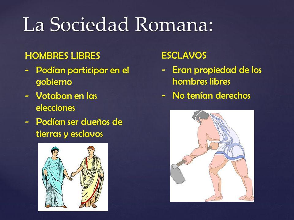 La Sociedad Romana: HOMBRES LIBRES ESCLAVOS