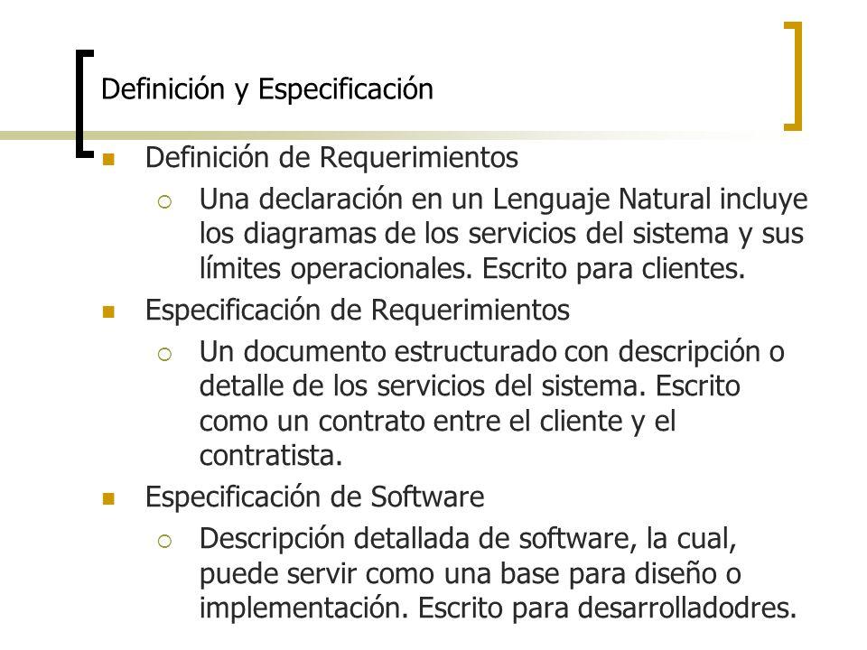 Definición y Especificación