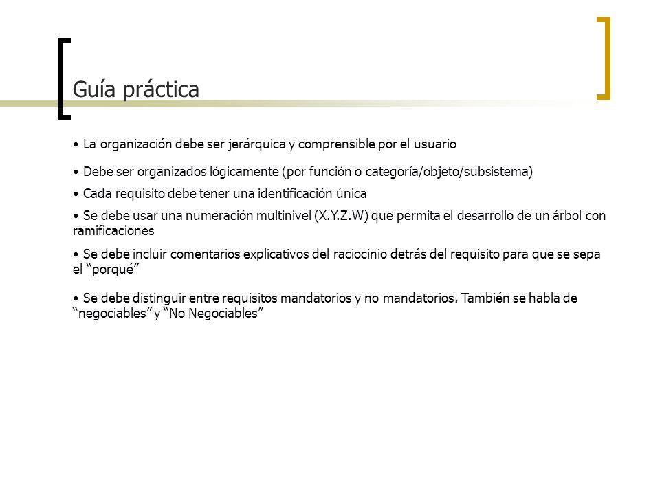Guía prácticaLa organización debe ser jerárquica y comprensible por el usuario.