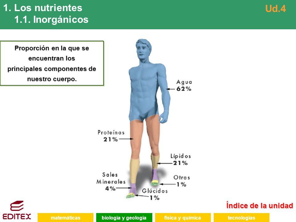 Los nutrientes 1.1. Inorgánicos Ud.4 Índice de la unidad