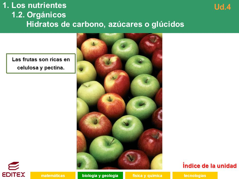 Las frutas son ricas en celulosa y pectina.