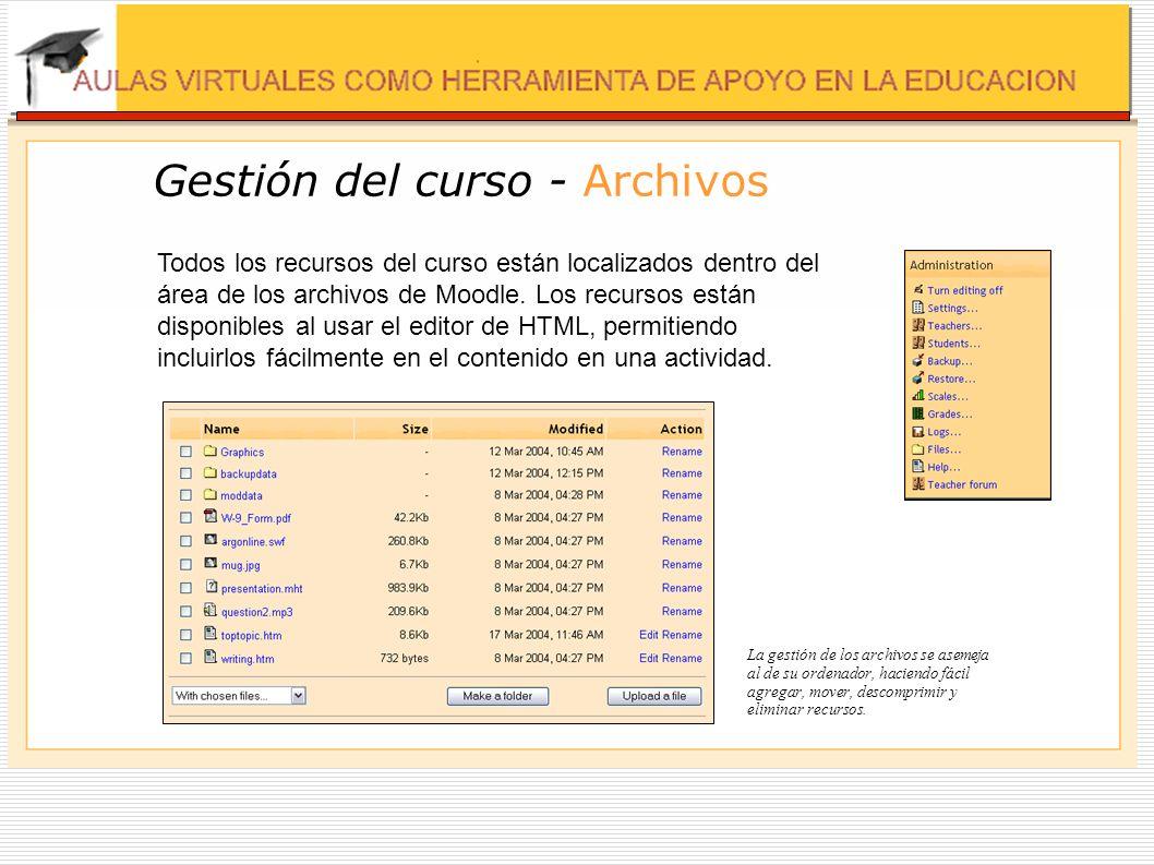 Gestión del curso - Archivos