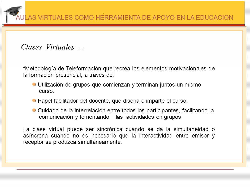 Clases Virtuales …. Metodología de Teleformación que recrea los elementos motivacionales de la formación presencial, a través de: