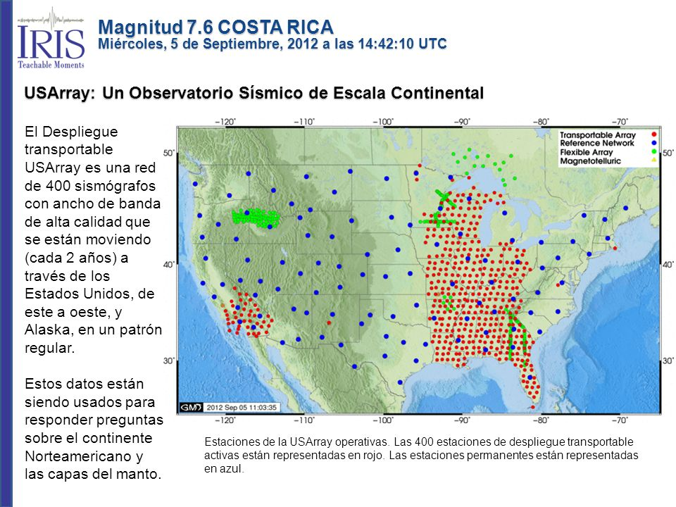 USArray: Un Observatorio Sísmico de Escala Continental