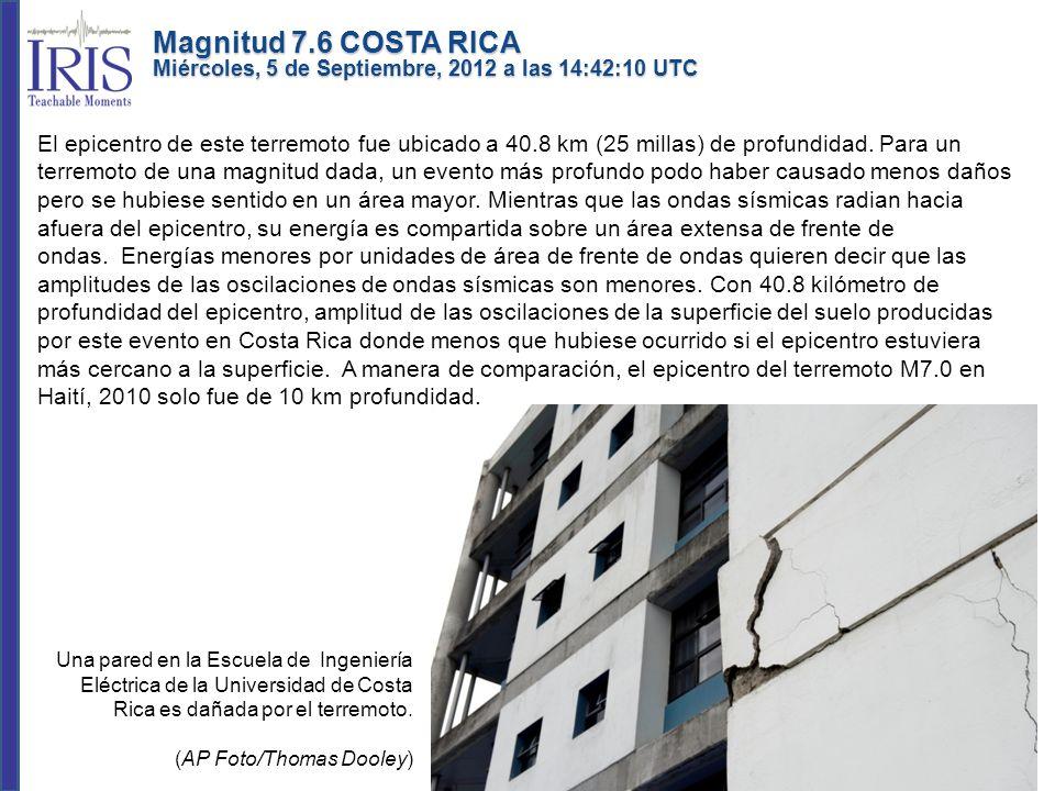 Magnitud 7.6 COSTA RICA Miércoles, 5 de Septiembre, 2012 a las 14:42:10 UTC