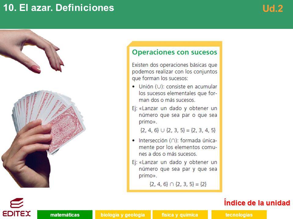 10. El azar. Definiciones Ud.2 Índice de la unidad matemáticas