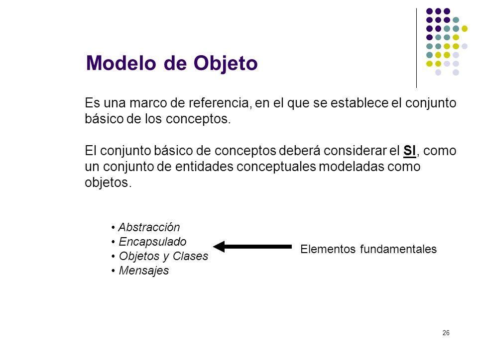 Modelo de Objeto Es una marco de referencia, en el que se establece el conjunto. básico de los conceptos.
