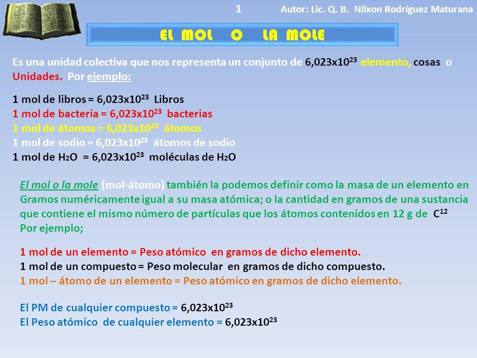 1 Autor: Lic. Q. B. Nilxon Rodríguez Maturana. EL MOL O LA MOLE.