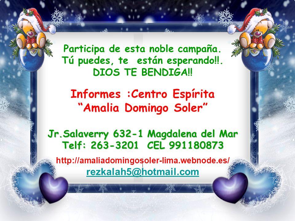 Informes :Centro Espírita Amalia Domingo Soler