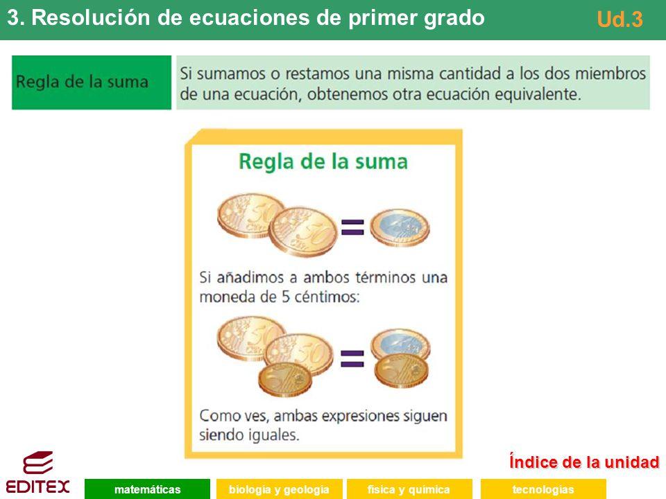3. Resolución de ecuaciones de primer grado Ud.3